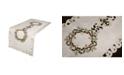 "Xia Home Fashions Ribbon Wreath Embroidered Cutwork Christmas Table Runner, 15"" x 34"""