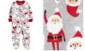 Carter's Baby Boys Santa-Print Fleece Footed Coverall