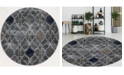 "KM Home CLOSEOUT! 3797/1024/Gray Imperia Gray 5'3"" x 5'3"" Round Area Rug"