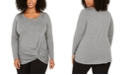 Belldini Plus Size Grommet Knot-Front Sweater