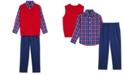 TFW Little Boys 3-Pc. Cable-Knit Sweater Vest, Plaid Shirt & Pants Set
