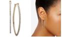 "DKNY Medium Gold-Tone Pavé Hoop Earrings 2"""