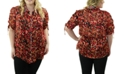 Maree Pour Toi Plus Size Printed Ruched-Sleeve Blouse
