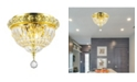 Worldwide Lighting Empire 3-Light Gold Tone Finish and Clear Crystal Flush Mount Ceiling Light