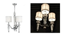 Worldwide Lighting Gatsby 3-Light Chrome Finish and Clear Crystal Chandelier with Fabric Shade