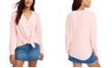 Hippie Rose Juniors' Cozy Tie-Front Shirt