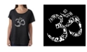 LA Pop Art Women's Dolman Cut Word Art Shirt - The Om Symbol Out of Yoga Poses