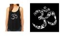 LA Pop Art Women's Premium Word Art Flowy Tank Top- The Om Symbol Out Of Yoga Poses