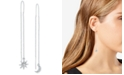 RACHEL Rachel Roy Silver-Tone Crystal Starburst Moon Threader Earrings