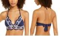 Becca Delilah Solid Crochet Trim Halter Bikini Top