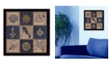 "Trendy Decor 4U Coastal Collage II By Debbie DeWitt, Printed Wall Art, Ready to hang, Black Frame, 14"" x 14"""