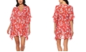 Jessica Simpson Chantilly Lace Printed Ruffled Caftan Swim Cover-Up