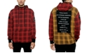 Diplomacy Men's The Red Hood Colorblocked Houndstooth Plaid Patch Hoodie