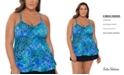 Swim Solutions Plus Size Santorini Printed Underwire Tankini Top, Created for Macy's