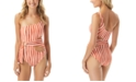 Vince Camuto Hammock Stripe Printed One Shoulder Wrap One-Piece Swimsuit
