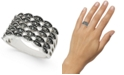 INC International Concepts INC Silver-Tone Crystal Multi-Row Basket Weave Ring, Created For Macy's