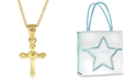 Rhona Sutton Children's Cross Pendant Necklace in 14K Gold Plated Sterling Silver