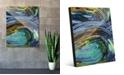 "Creative Gallery Kashima in Blue Abstract 16"" x 20"" Acrylic Wall Art Print"