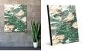 "Creative Gallery Paint Swipe Teal Green White Abstract 20"" x 24"" Acrylic Wall Art Print"