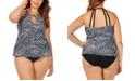 Raisins Curve Trendy Plus Size Juniors' Mombasa Printed Rosalie Underwire High Neck Tankini Top & Bottoms