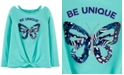 Carter's Little & Big Girls Cotton Tie-Front Butterfly T-Shirt