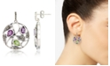 Macy's Marcasite and Amethyst(1 ct. t.w.)  and Peridot ( 2 ct. t.w.) Paisley Round Post Earrings in Sterling Silver