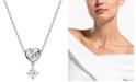 "Swarovski Heart Knot & Crystal Pendant Necklace, 14-7/8"" + 2"" extender"
