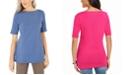 Karen Scott Elbow-Sleeve Stud-Trim Tunic, Created for Macy's