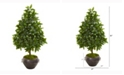 Nearly Natural 31in. Sweet Bay Cone Topiary Artificial Tree in Metal Bowl