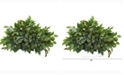 Nearly Natural 20in. Mixed Ficus and Fittonia Artificial Ledge Plant