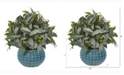 Nearly Natural 11in. Olive Branch Artificial Plant with Berries in Blue Planter