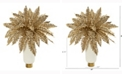 Nearly Natural 20in. Golden Boston Fern Artificial Plant in Cream Vase with Gold Base