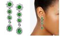 Macy's Cubic Zirconia Green Statement Drop Earrings in Sterling Silver