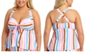 California Waves Trendy Plus Size Striped Tankini Top, Created for Macy's