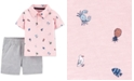 Carter's Baby Boys 2-Pc. Cotton Printed Polo Shirt & Striped Shorts Set