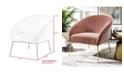 Nicole Miller Catriona Velvet Barrel Accent Chair with Metal Legs