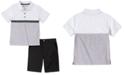 Calvin Klein Toddler Boys 2-Pc. Colorblocked Logo Tape Polo Shirt & Twill Shorts Set