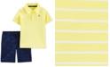 Carter's Toddler Boys 2-Pc. Cotton Striped Polo Shirt & Whale-Print Shorts Set