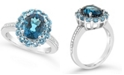 Macy's London Blue Topaz (3-1/5 ct. t.w.), Swiss Blue Topaz (1-1/4 ct. t.w.) and Diamond (1/10 ct. t.w.) Ring in Sterling Silver
