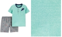 Carter's Baby Boys 2-Pc. Dino Henley T-Shirt & Shorts Set