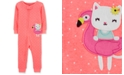 Carter's Baby Girls 1-Pc. Kitty Cat Dot-Print Footless Cotton Pajamas