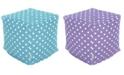 "Majestic Home Goods Small Polka Dot Ottoman Pouf Cube 17"" x 17"""