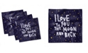 """Ambesonne I Love You to the Moon and Back Set of 4 Napkins, 12"""" x 12"""""""
