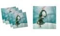 "Ambesonne North Pole Set of 4 Napkins, 12"" x 12"""