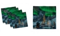 """Ambesonne Aurora Borealis Set of 4 Napkins, 18"""" x 18"""""""