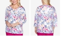 Alfred Dunner Petite Panama City Studded Printed Top