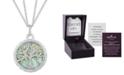 "Hallmark Diamonds Amazonite & Diamond (1/10 ct. t.w.) Family Tree Strength pendant in Sterling Silver & 14k Gold, 16"" + 2"" extender"