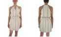 City Studios Striped Smocked-Waist A-Line Dress