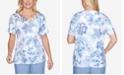Alfred Dunner Plus Size Batik Floral Lace Yoke Short Sleeve Knit Top