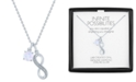 """Macy's Lab-Created Opal (6mm) & Diamond Accent Infinity Double Pendant Necklace in Sterling Silver, 16"""" + 2"""" extender"""